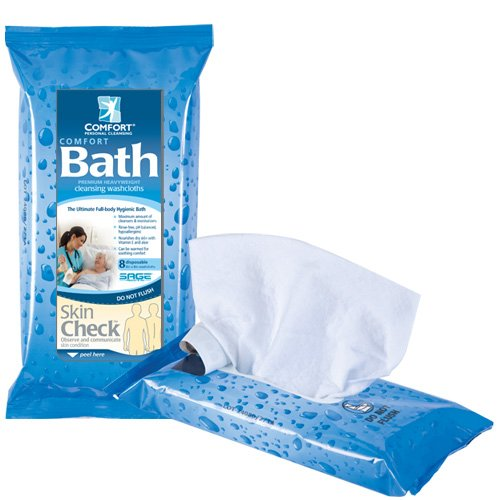 Package of comfort bath cleansing washcloths on a white background