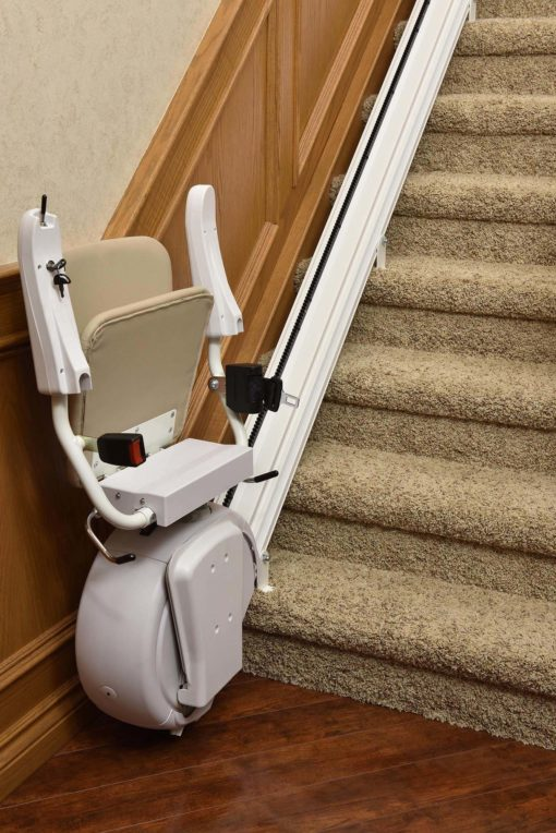 photo of Savaria K2 stairlift installed at home over staircase