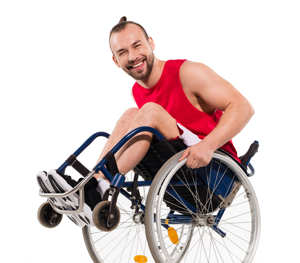 athletic guy with a disability playing on a wheelchair