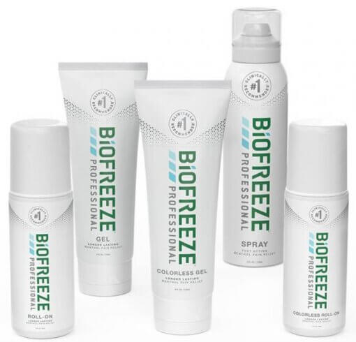BioFreeze gel, roll-on, and spary products on a white background